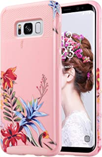 ULAK S8 Case, Galaxy S8 Case, Hybrid Case for Samsung Galaxy S8 2017 Release 2-Piece Dual Layer Style Hard Cover (Pink+Tropical Flower) Will not Fit S8 Plus