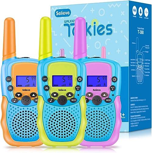 Selieve Jouets Garcons 3-8 Ans, Talkie Walkie Radio à 2 Voies avec 8 Canaux Jeux Extérieurs Enfants avec Fonction Lam...