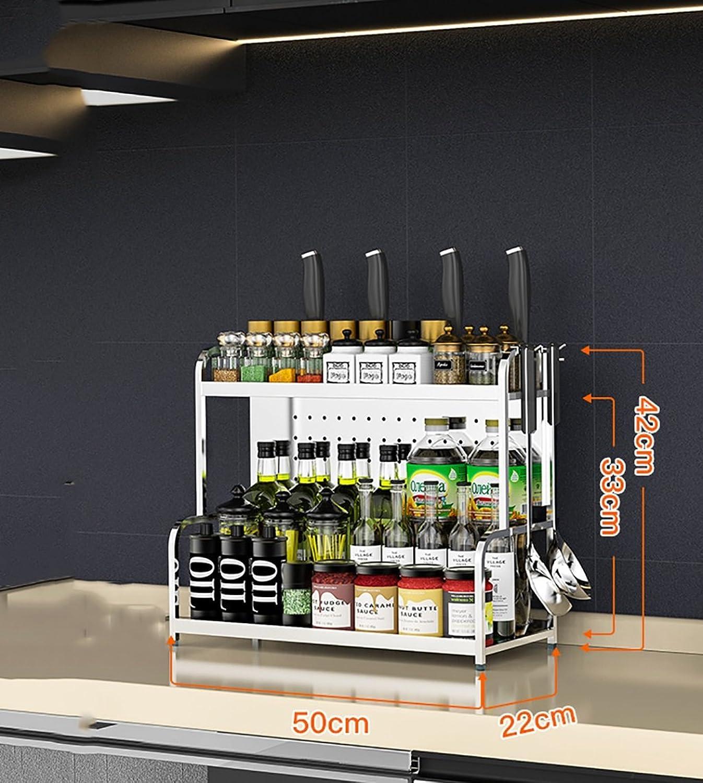 Kitchen Shelf Multipurpose Spice Racks, Stainless Steel Kitchen Seasoning Shelves Kitchen Storage Organizer Kitchen Storage Racks (color   A, Size   50cm22cm42cm)