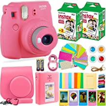 FujiFilm Instax Mini 9 Instant Camera + Fuji Instax Film (40 Sheets) + Batteries + Accessories Bundle - Carrying Case, Color Filters, Photo Album, Stickers, Selfie Lens + More (Flamingo Pink)