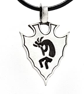 Trilogy Jewelry Pewter Kokopelli Arrowhead Native American Pendant on Leather Necklace