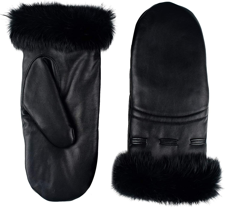 GSG Women Leather Mittens Sheepskin Winter Lady Warm Gloves Elastic Band Fur Liner