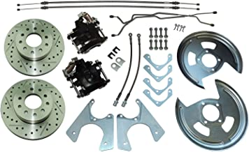 Compatible With 1964-1977 GM 10 12 bolt Rear Axle End Disc Brake Conversion Kit CROSS DRILLED ROTORS (N-3-1)