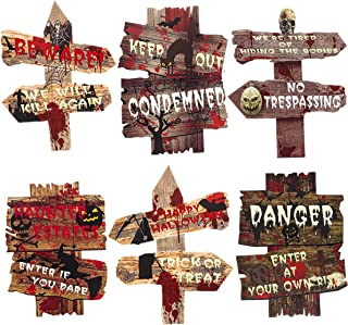 VesipaFly Halloween Yard Decorations Signs Stakes Beware Props Halloween Outdoor Lawn Decor Bloody Scary Zombie Vampire Gr...