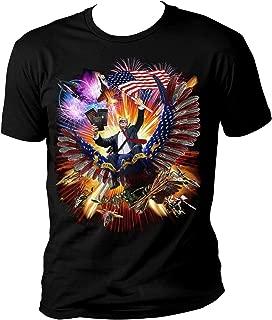 President Trump Riding an Eagle - Waving American US Flag - Make America Epic Great Again - Soft Feel Retail Shirt