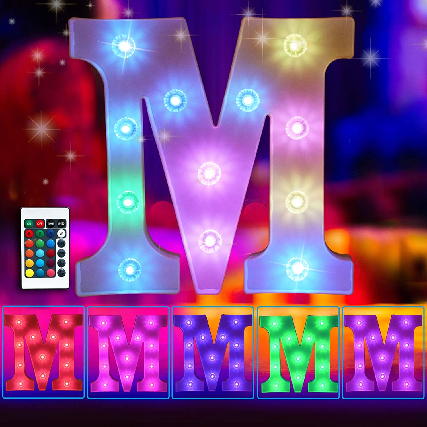 Elnsivo Colorful LED Marquee Letter Lights Light Up 16 Colors Changing Letter Sign Remote Control Multicolor 26 Alphabet Letter Lamp for Wall Wedding Birthday Party Christmas Decoration(RGB Letter M)