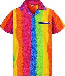 V.H.O. Funky Hawaiian Shirt | Men | XS-12XL | Short-Sleeve | Front-Pocket | Hawaiian-Print | Rainbow Unique | Horizontal a...