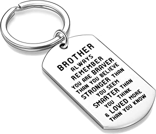 Nimteve Brother Family Best Friend Inspirational Keychain Gift- Always Remember You are Braver Stronger Smarter