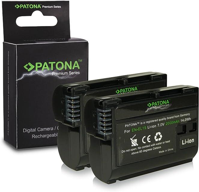 2x Premium Batería EN-EL15 ENEL15 para Nikon 1 V1 - Nikon D600 | D800 | D800E | D7000 | D7100 [ Li-ion; 2000mah; 7.0V ]