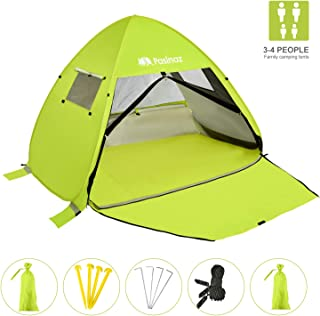 Pasinaz Beach Canopy Beach Tent Sun Shelter Pop up with uv Protection Portable Outdoors Beach Cabana Sun Umbrella Shade for 3-4 People with Carry Bag