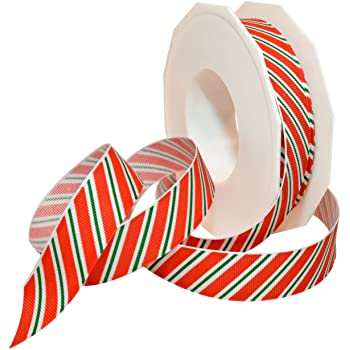 """3 yards 7//8/"""" Red Green Gold Striped Holiday//Christmas Grosgrain Ribbon"""