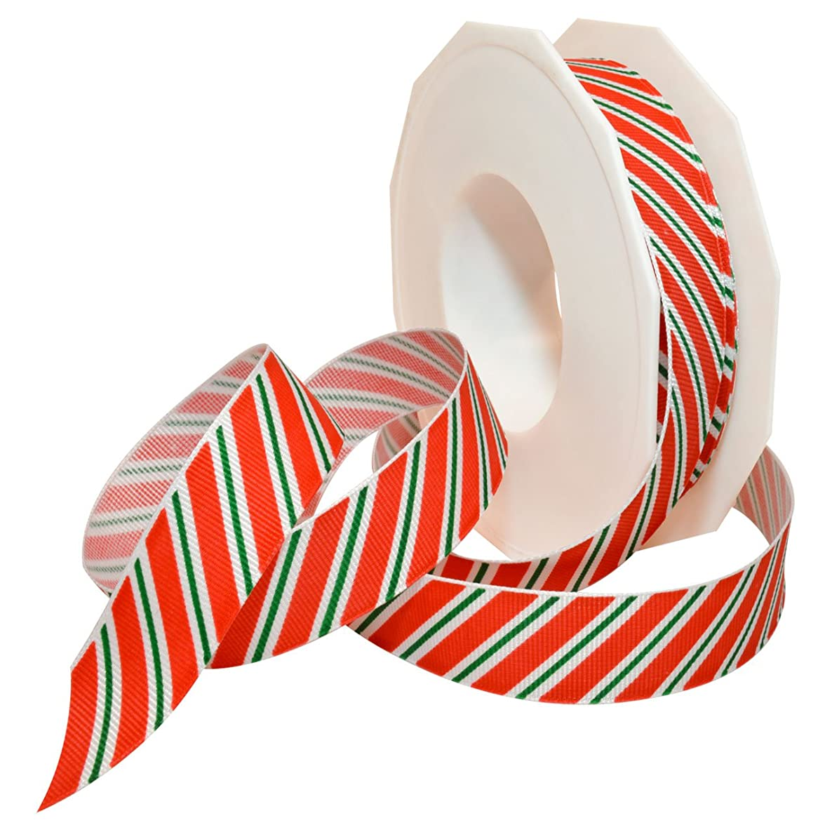 Morex Ribbon 80605/20-919 Candy Cane Stripes Grosgrain Ribbon, 7/8-Inch by 20-Yard, Holiday Red