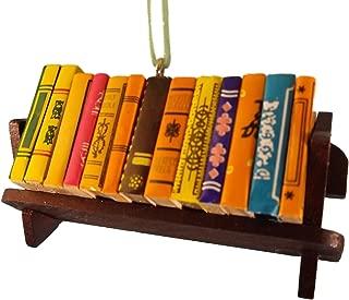 On Holiday Stack of Books Wood Bookshelf Christmas Tree Ornament