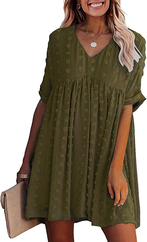 Women Summer Sundress Boho Solid Color Mini Dress High Waist Empire Lace V Neck Hollow Out 3/4 Sleeve Swing Sundress