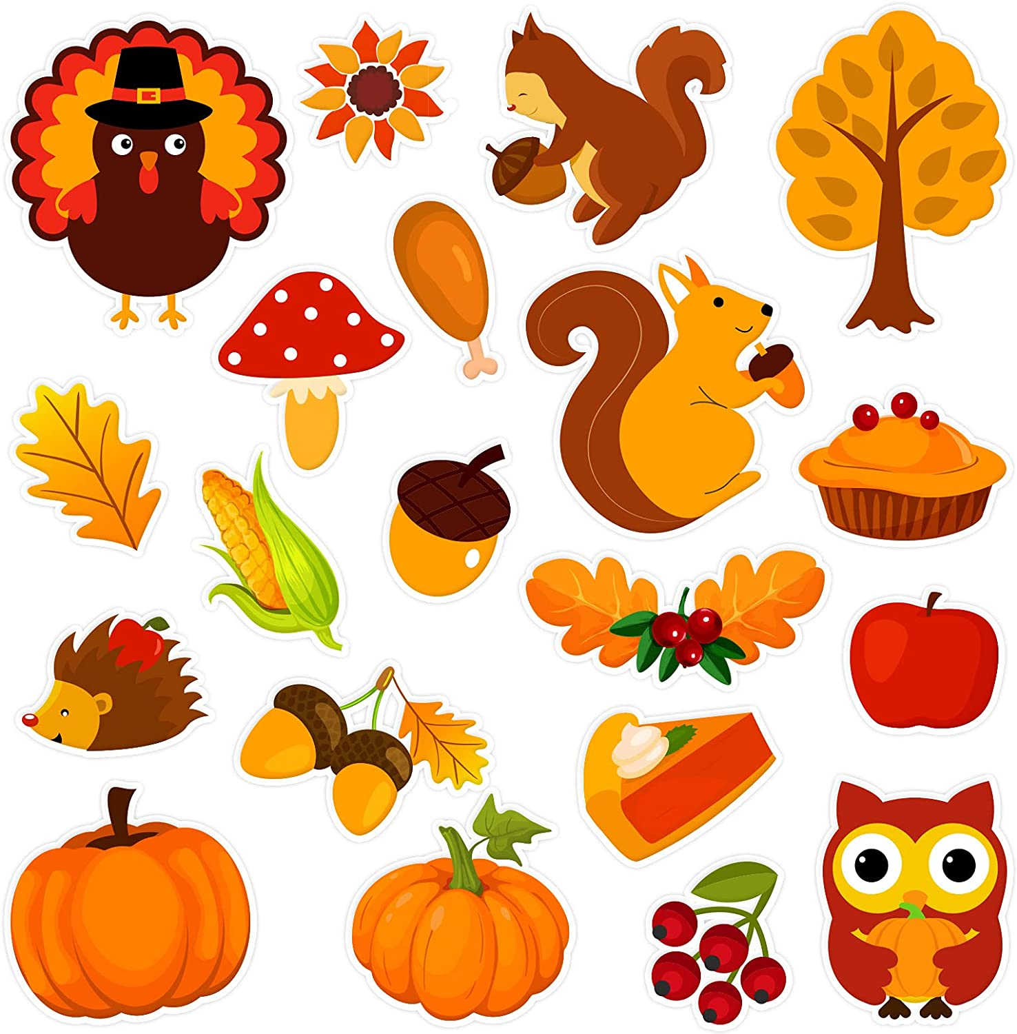 20 PCS Thanksgiving Thick Gel Cling Autumn Window Gel Clings Decals Stickers for Kids, Toddlers and Adults Home Airplane Classroom Nursery Fall Party Supplies Decorations (Thanksgiving)