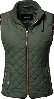 Awesome21 Casual Solid Suede Piping Detail Quilted Padding Vest Olive 1XL