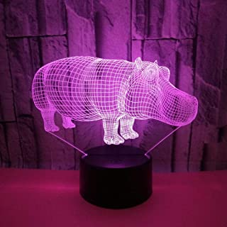 Creative Hippo 3D Night Light Colorful USB Three-Dimensional Visual Light led Gift Rhinoceros Atmosphere Art Small Table lamp Remote Control 7 Color Change