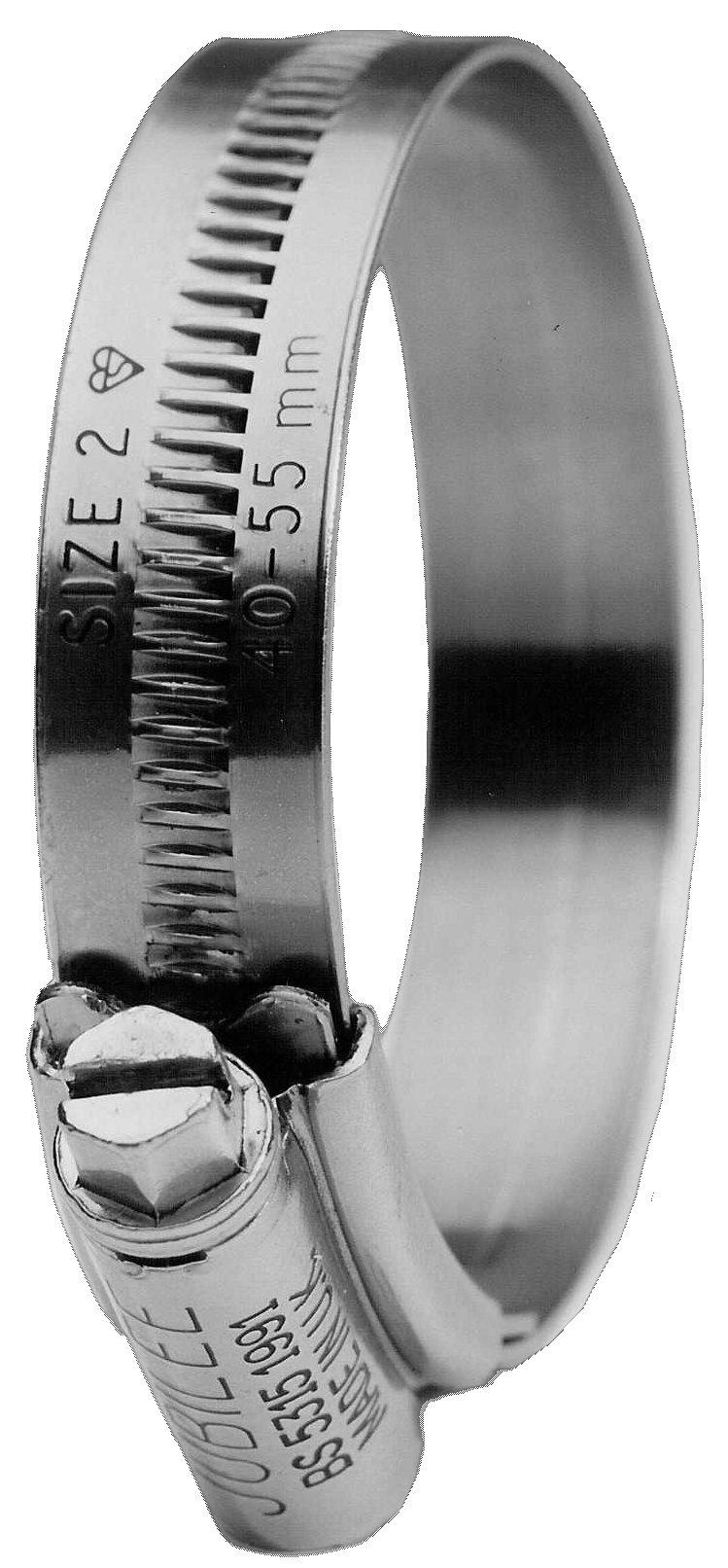 10 x JCS HI-GRIP HOSE CLIPS SIZE 55 ZINC PLATED 40-55mm JUBILEE TYPE 2 CLAMP