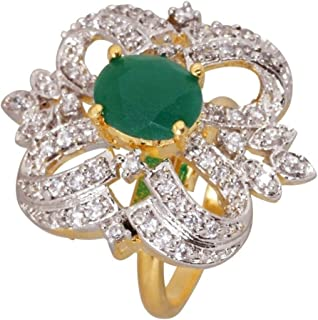 Royal Bling Indian Traditional Antique Gold Plated Americian Diamond/AD Crystal Jewelry Adjustable Statement Ring for Girl...