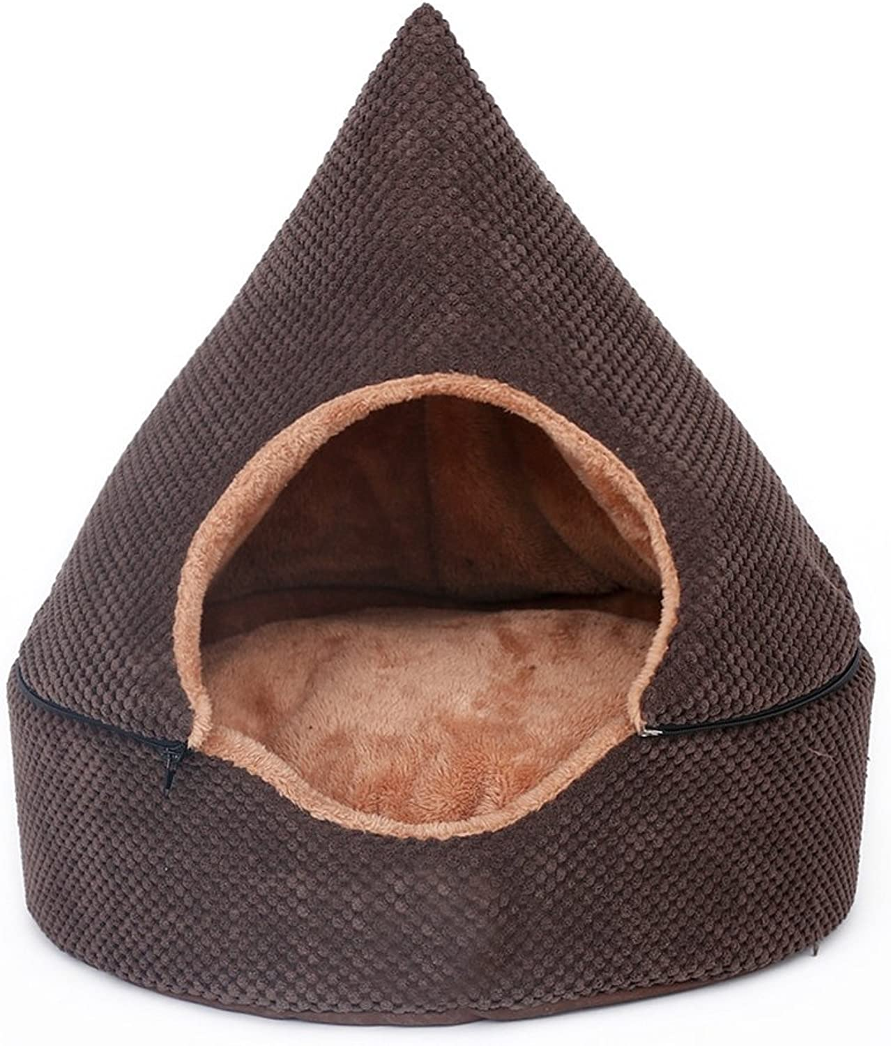 Norbi Pet Cat Small Dog Cave House Warm Sleeping Bag Tent Bed Removable Washable Bed Better Sleep(A Coffee)
