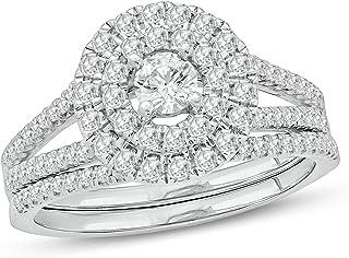 Cali Trove 5/8ct جولة الماس الأبيض 10K الذهب الأبيض هالو الزفاف مجموعة خواتم الزفاف للنساء