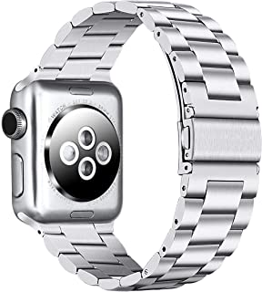 PUGO TOP Compatible with Iwatch Band 42mm 44mm Apple Watch Replacement Bracelet Link Band Series 5/4/3/2/1 Men Women Stainless Steel Metal. (42mm/44mm, Silver)