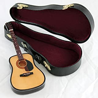 String Guitar with Pick Guard Music Instrument Miniature Replica with Case - Size 7 in.