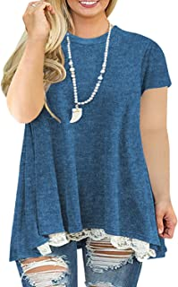 Plus-Size Summer Tops for Women Lace T Shirts Flowy...