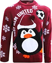 XMAS Official West Ham United Soccer Christmas Jumper (Sizes S to 3XL)