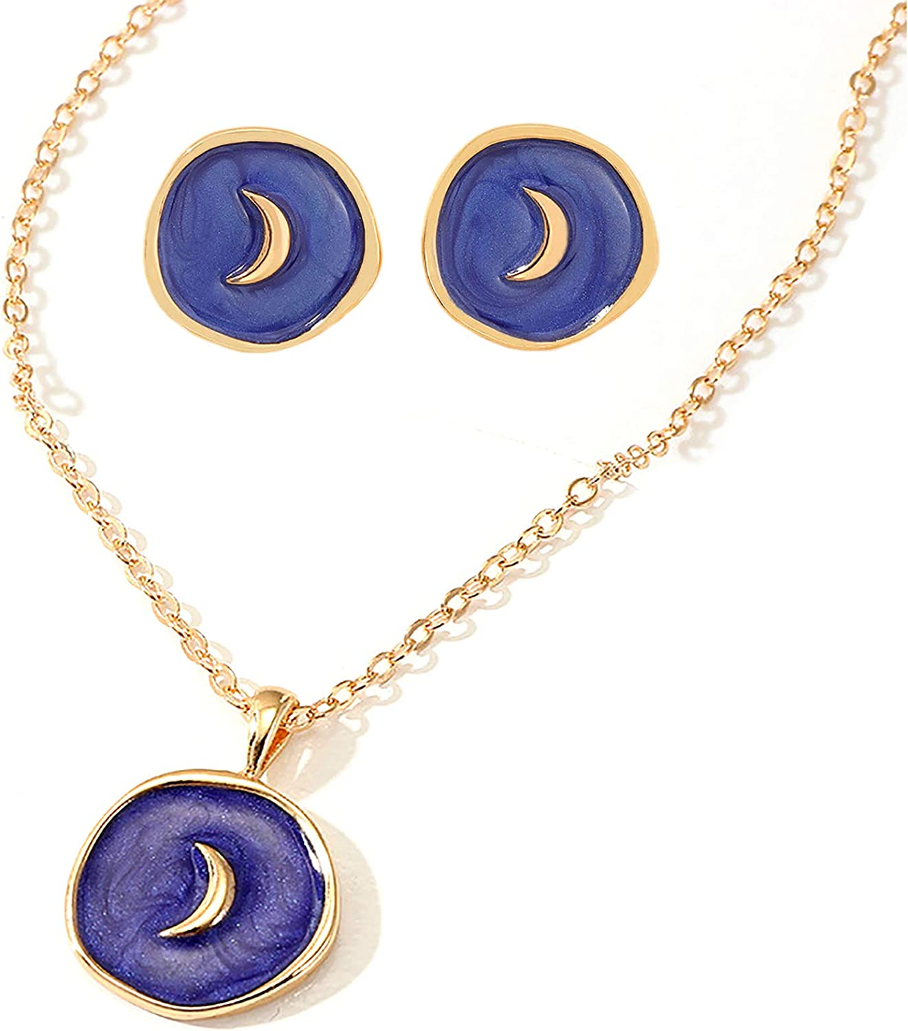 caiyao Colorful Moon Star Lightning Heart Enamel Round Pendant Adjustable Choker Necklace and Stud Earrings Set Delicate Friendship Sweet Lovely Jewelry for Women Girls