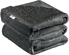 "uxcell Sherpa Fleece Blanket Fuzzy Soft Microfiber Plush Reversible Flannel Throw Blanket Blanket for Sofa Couch or Bed, Dark Gray Throw-50"" x 60"""