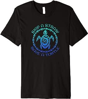 Skip A Straw Save A Turtle Maori Tattoo Art Plastic Artwork Premium T-Shirt