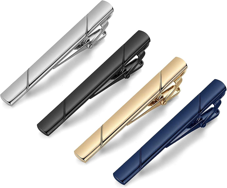 MOZETO Tie Clips for Men, Black Gold Blue Gray Silver Tie Bar Set for Regular Ties, Luxury Box Gift Ideas (Elegant Style)