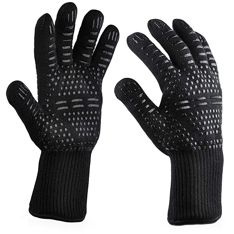 Mnyycxen Heat Resistant Gloves, BBQ Gloves, Hot Oven Mitts, Barbecue Grilling Meat Gloves