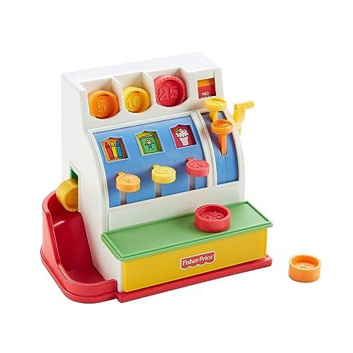 Fisher-Price Caisse Enregistreuse, jouet d'imitation pour enfant avec 6 pièces incluses, 2 ans et plus, 72044