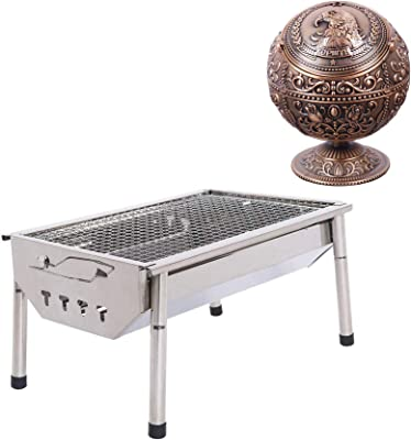 ISUMER Charcoal Grill Barbecue Portable BBQ - Stainless Steel Folding BBQ Kabab Grill Camping Grill Vintage Windproof Ashtray Portable Cigar Ashtray