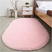 Softlife Fluffy Area Rugs for Bedroom 2.6' x 5.3' Oval Shaggy Floor Carpet Cute Rug for Girls Room Kids Room Living Room Home Decor, Pink