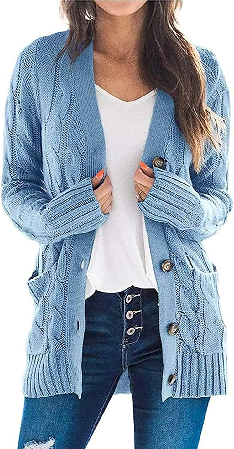 YONYWA Womens Long Sleeve Cardigan Sweaters Open Front Casual Oversized Chunky Knit Soft Button Down Outerwears with Pockets