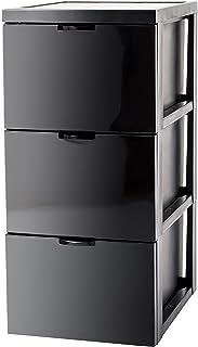 Marque Amazon - Iris Ohyama Armoire de rangement design 3 tiroirs - Style Chest - SCF-303,plastique, noir, 45 L, 29 x 39 x...