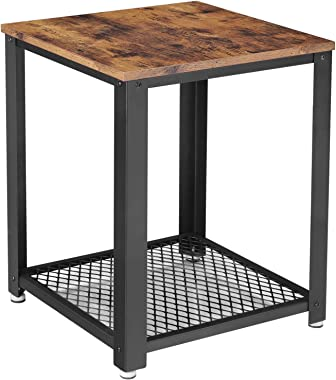 VASAGLE Industrial End Table, 2-Tier Side Table with Storage Shelf, Sturdy, Easy Assembly, Wood Look Accent Furniture, with M