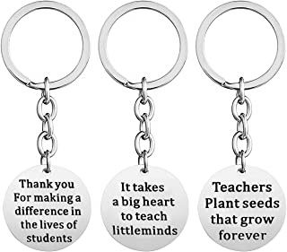 3 Pcs Teacher Appreciation Gifts - Key Chain Ring Jewelry Gifts Bag Box for Women Men (3Pcs Round Shape)