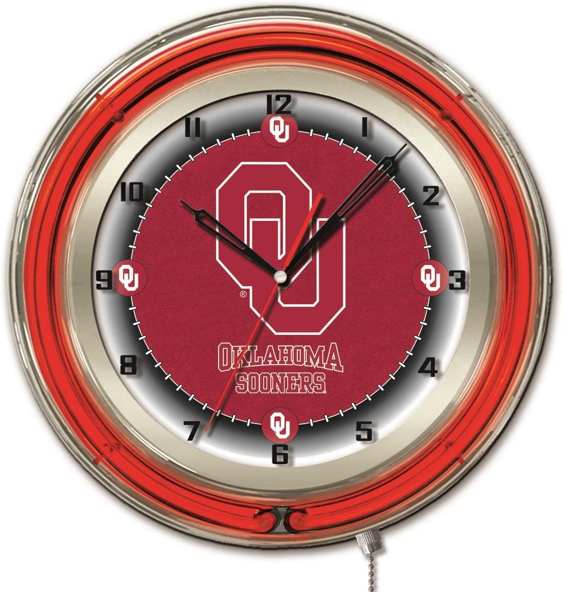 Oklahoma Sooners HBS Neon Red Clock Wall College Powered Battery Ranking Max 75% OFF TOP6