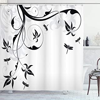 Ambesonne Dragonfly Shower Curtain, Swirled Floral Background with Damask Curl Branches and Leaves Print, Cloth Fabric Bathroom Decor Set with Hooks, 70