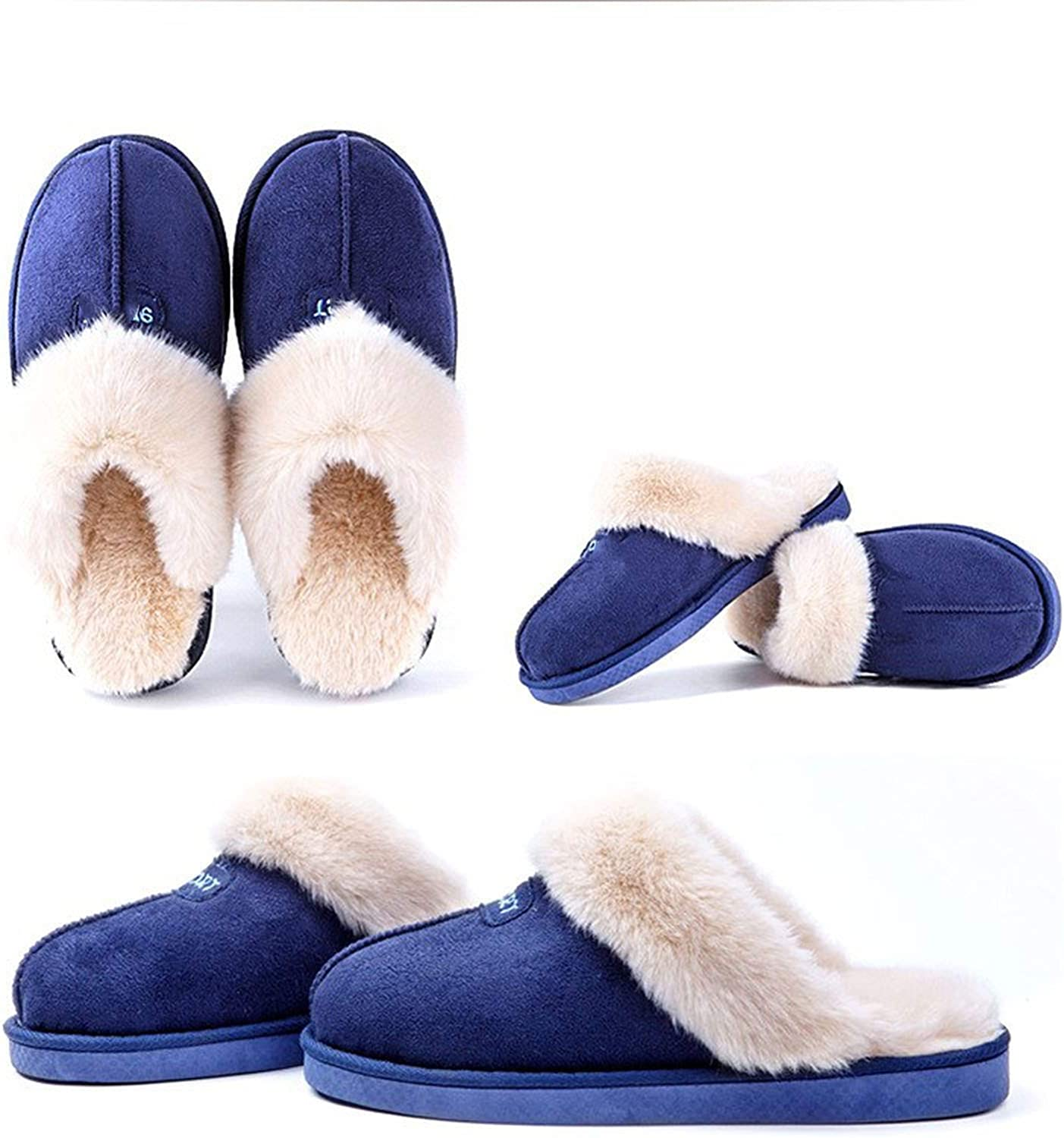 Can't be satisfied Women Winter Home Slippers Faux Suede Non-Slip Soft Warm House Slippers Indoor Bedroom Couples,bluee,41