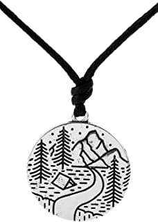 Dawapara Punk Outdoor Scenery Mountain River Waterfall Camping Pendant Leisure Necklace Nature Jewelry