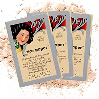 Palladio Rice Paper Facial Tissues for Oily Skin, Face Blotting Sheets Made from Natural Rice, Oil Absorbing Paper with Ri...