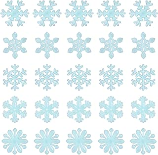 Tinksky Glow in The Dark Snowflakes Decals Christmas Wall Stickers Window Clings Blue Pack of 50