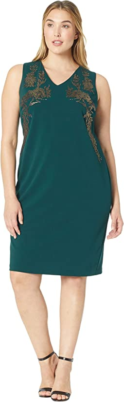 Plus Size V-Neck Sheath Dress w/ Embrodery