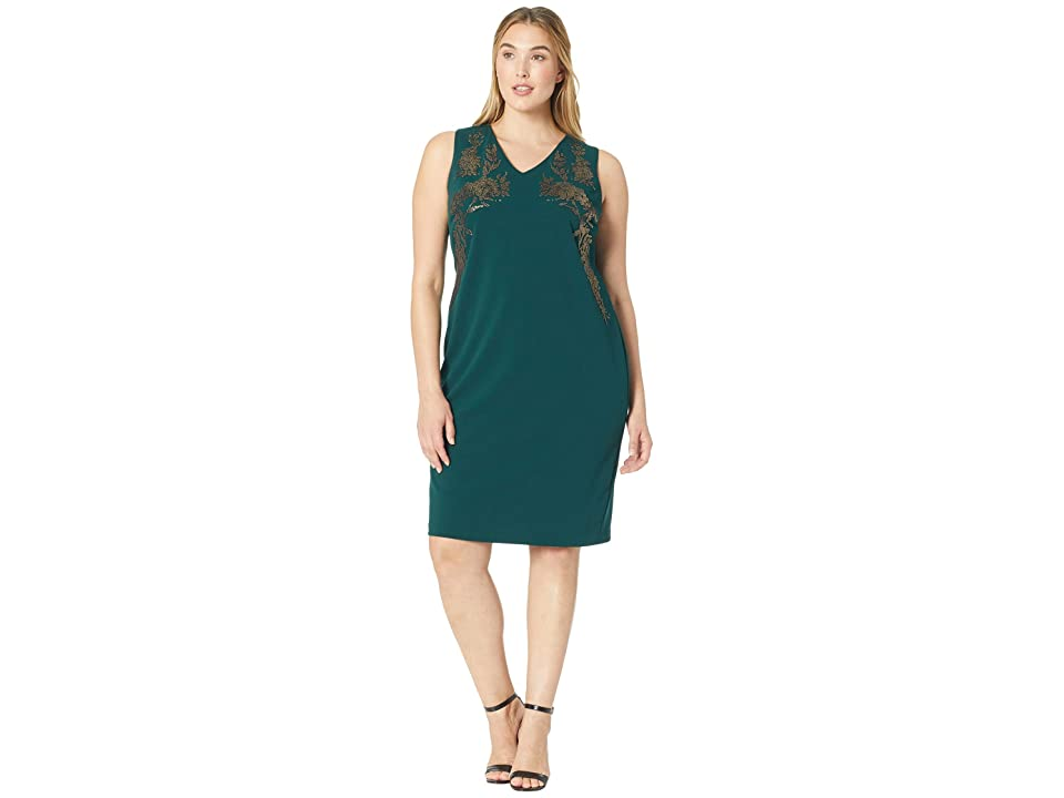 Calvin Klein Plus Plus Size V-Neck Sheath Dress w/ Embrodery (Malachite) Women