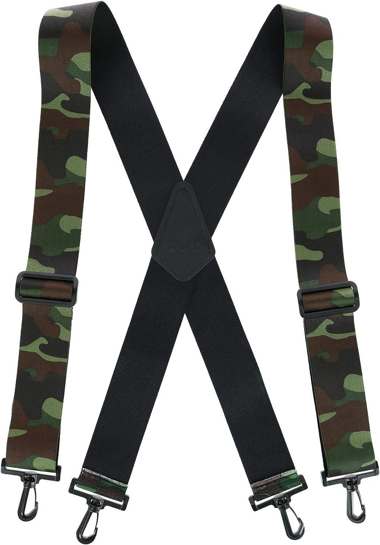 CTM Men's Elastic Camouflage X-Back Suspenders with Plastic Swivel Hook Ends